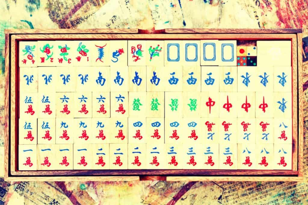 Mahjong Tiles in box
