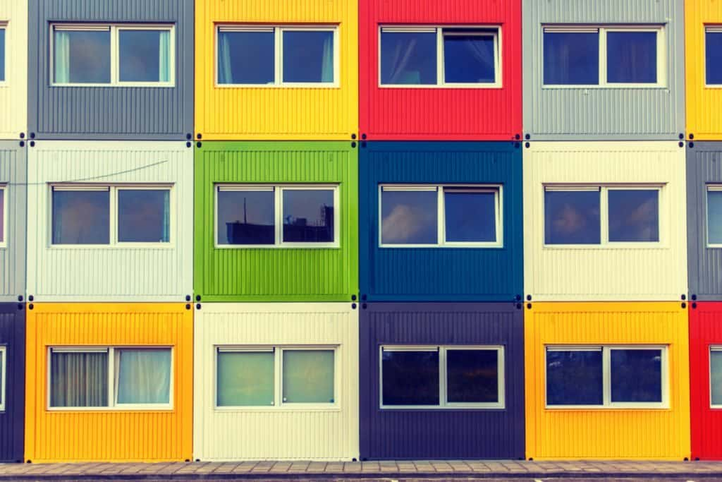 Apartment housing made from shipping containers