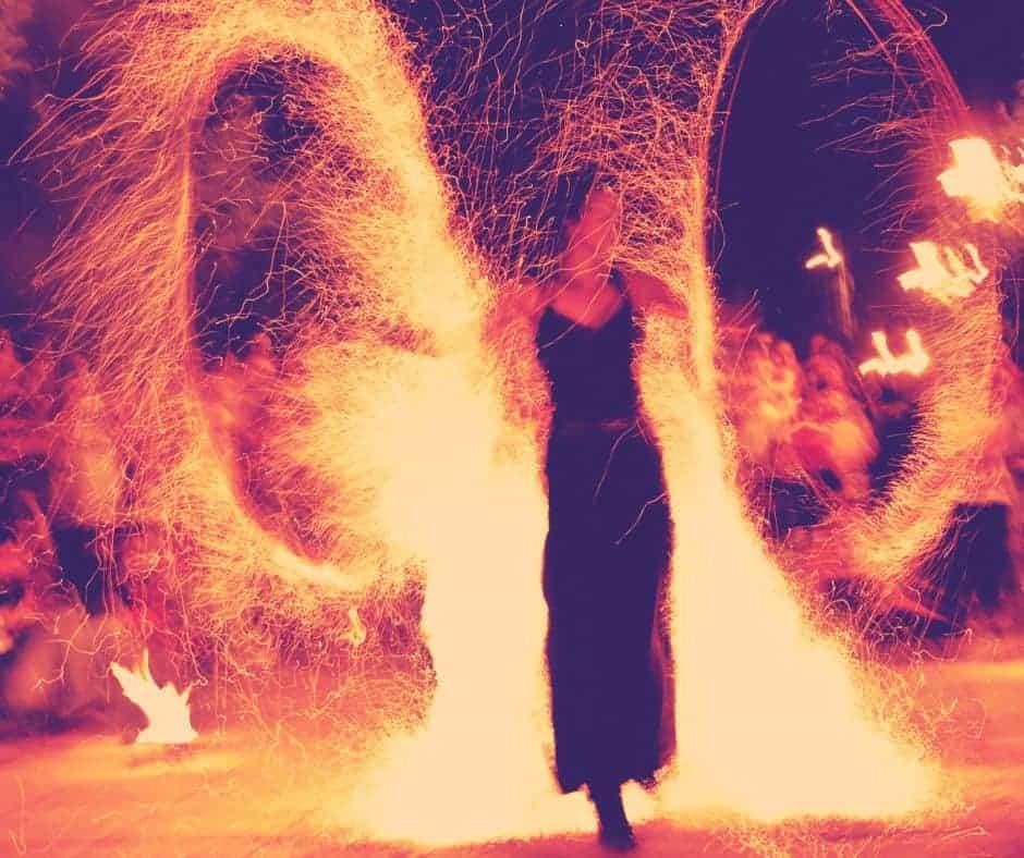 Girl Spinning Fire at Burning Man Festival Nevada Desert