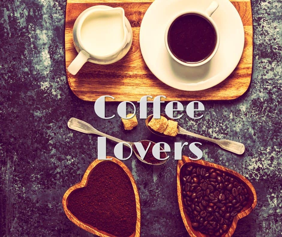 Coffee Lovers Hearts filled with Coffee Beans and tray with coffee and milk