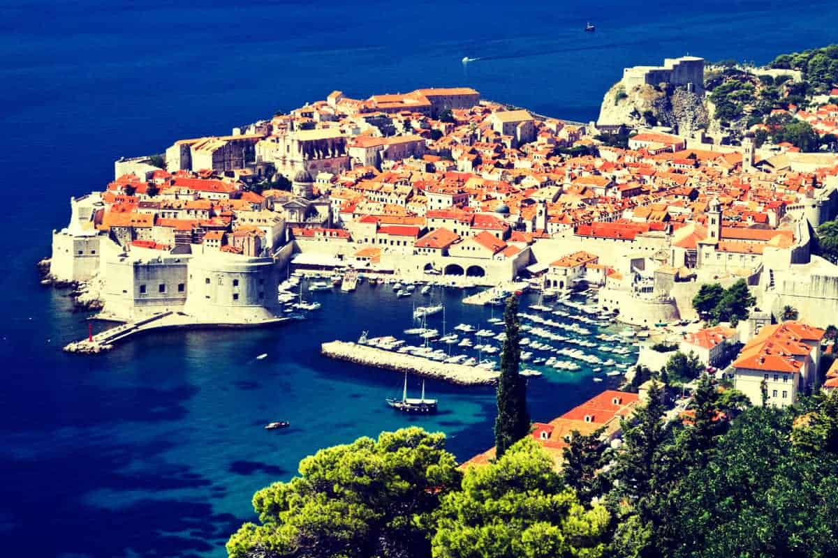 Old Town of Dubrovnik Croatia looking down from hill