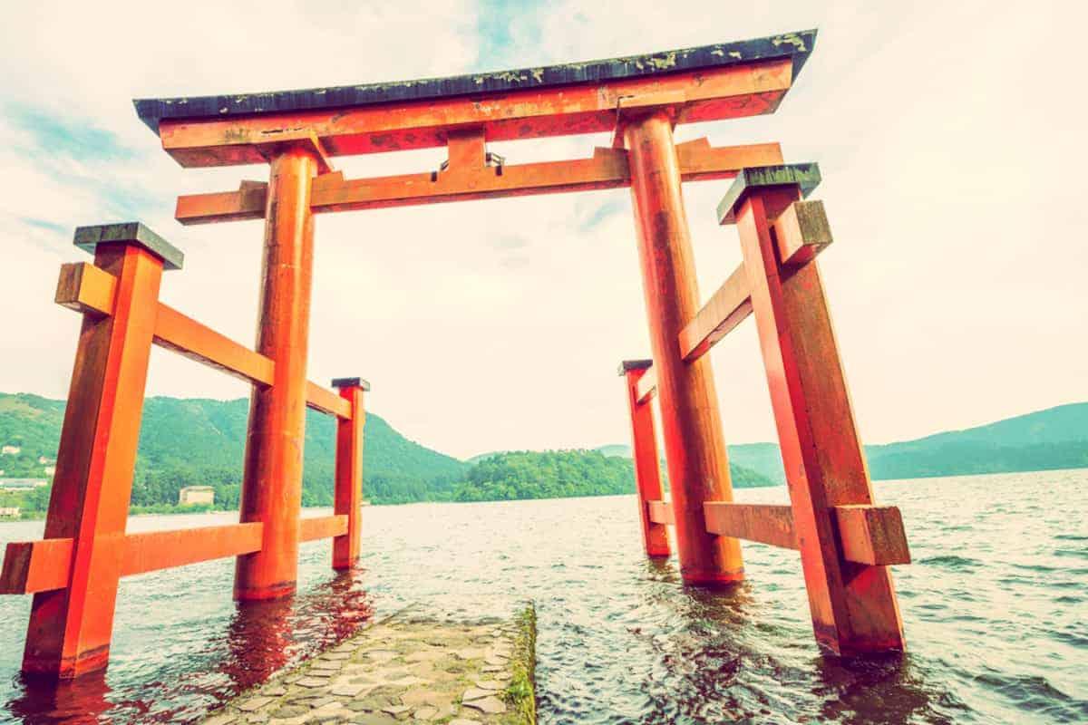 Hakone Japan Mt Fuji Hikers Shrine Lake