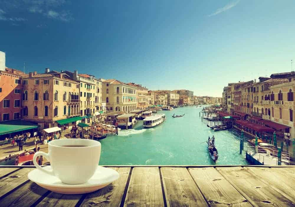 Venice Italy Coffee Drinking Overlooking Canal