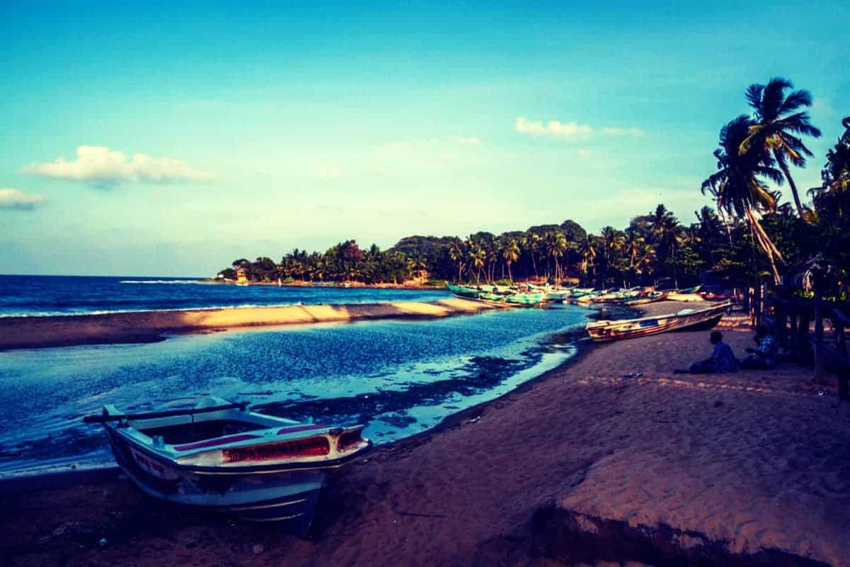 Beach Scene sunset Arugam Beach, Sri Lanka