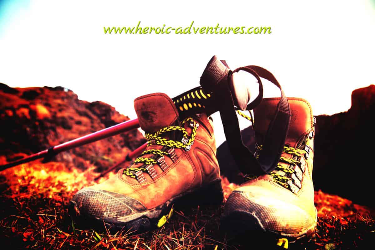 Hiking Shoes with Walking Poles on top