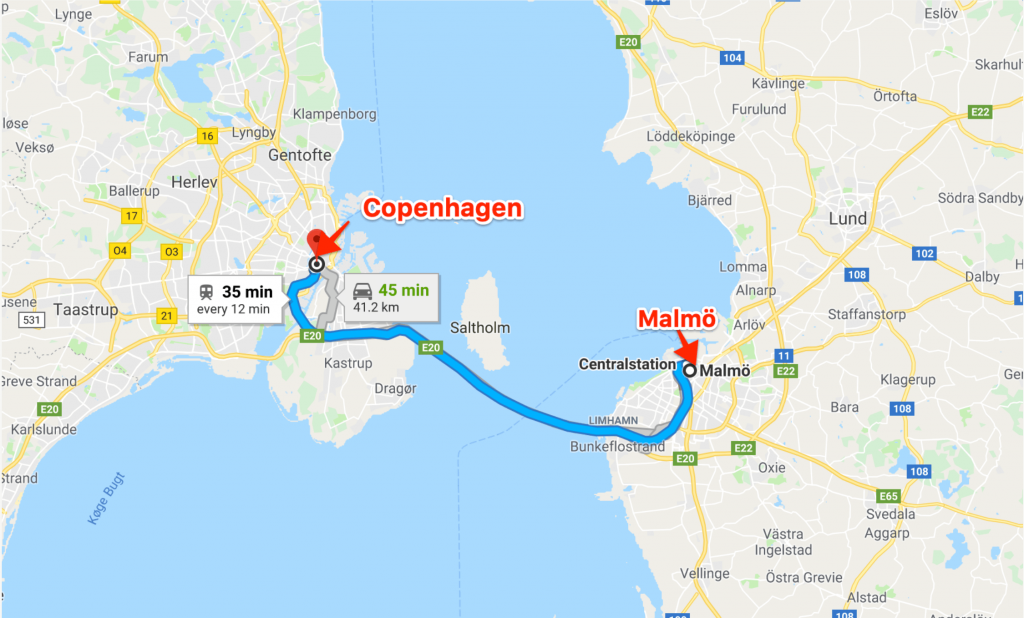 Map illustrating time to travel between Malmö and Copenhagen by train