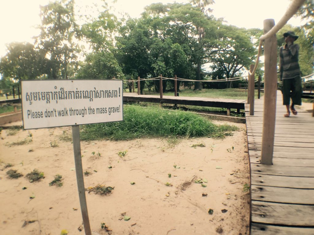 Walkway across Killing fields in Phonm Penh Cambodia